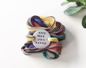 Wrap Bracelet, Work Hard Stay Humble, Boho Wrap Bracelet, Silk Wrap Bracelet,Yoga Bracelet, Bohemian Bracelet, Yoga Jewelry, Inspirational