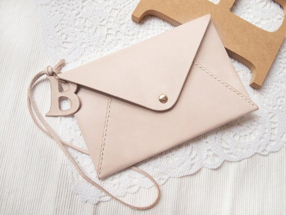 Monogram Leather Envelope Clutch Bag/ Pouch / Purse with Initial Letters, Personalzie name Hand Stitched by HarLex