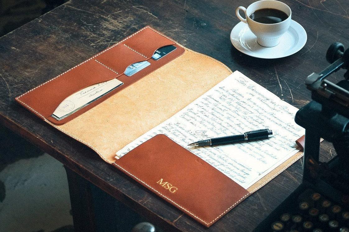Leather portfolio cases business portfolios folders embossed with -  Zoom