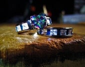 Mystic Topaz Ancient Elven Spirit Sterling Ring Pair - Accented Blue Topaz and White Topaz - Love, Intrigue, Elf Sight, Forest Magic, Luck