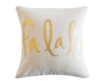 FaLaLa Pillow, Oatmeal and Metallic Gold, Christmas Decoration