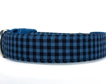 Blue Plaid Dog Collar /  Blue Dog Collar / Plaid dog collar / Checked dog collar / Buffalo Plaid Dog Collar / Adjustable Dog Collar