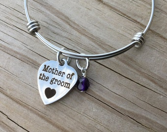 """Mother of Groom Charm Bracelet- """"Mother of the groom"""" laser etched charm with an accent bead in your choice of colors"""