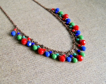 beaded necklace, colorful necklace, statement jewelry, gifts for women