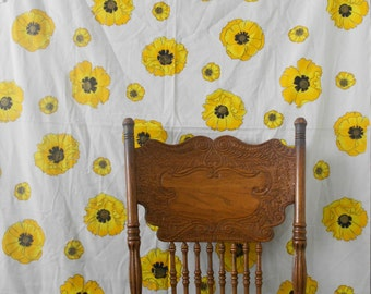 alfred shaheen tropical hawaiian vintage yellow flower hand printed / floral fabric panel sheet