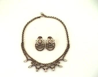 Signed Kramer of NY Smokey Grey Crystal Rhinestone Necklace Earring Set