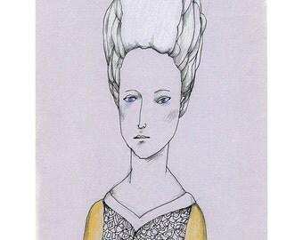 woman drawing original portrait Antoinette illustration people figurative art