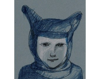 Child drawing portrait costume hat bunny art original people figurative face man woman