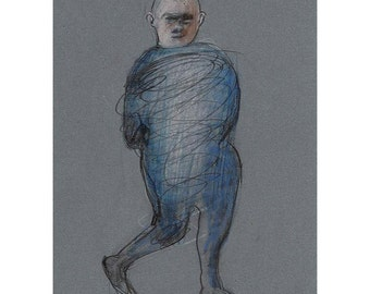 Man drawing original art standing figure people illustration expressive