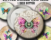 INSTANT DOWNLOAD Mandala Butterflies (773 ) Button Size Images 1,313 Inch ( 1 inch Button) Digital Collage Sheet for Badges Buttons  ....