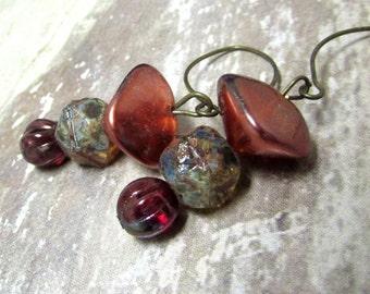 Cranberry Stacked Earrings. Modern Czech Glass Beaded Earrings. Handmade.
