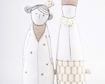 King & Queen dolls - Royal Couple soft sculpture dolls in Beige, ivory crown , dotted scarf and clothing-  timohandmade eco fabric dolls
