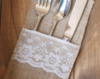 Burlap and Lace Silverware Bags, 10 Jute Hessian Cutlery Pockets Barn Wedding Baby Shower Cutlery Bags Silverware Bags Place settings Rustic