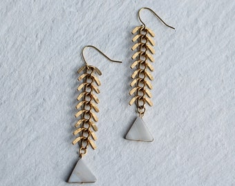 Fish Bone Earrings ... Pearl with Gold Brass