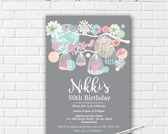 Birthday Invitation, Birdcages, for any age,  shabby chic invitation, girl party, any age, 30th 40th 50th 60th 70th 80th   - card 148