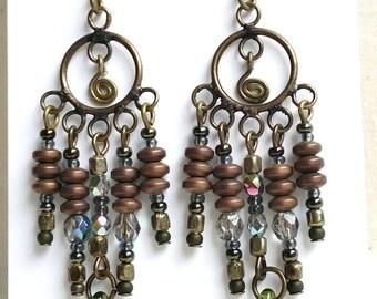 Antiqued Gold Dangle Earrings