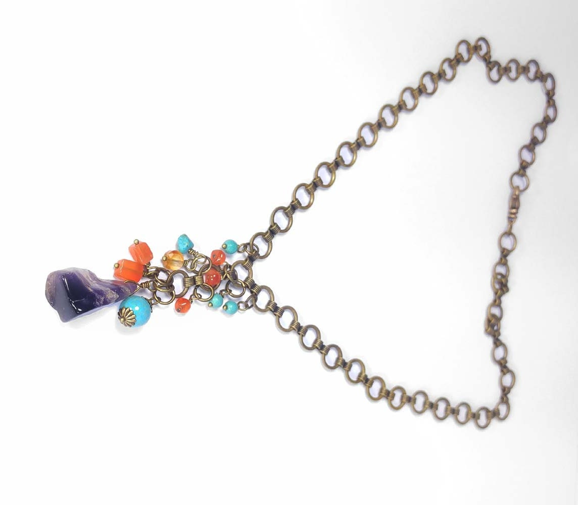 amethyst gemstone necklace with orange carnelian turquoise