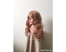 SALE! Strawberry Blonde Wig | Long Curly Wig + bangs | Red Auburn Platinum Highlights Anime Cosplay Anna Frozen Costume Lolita Fashion Hair