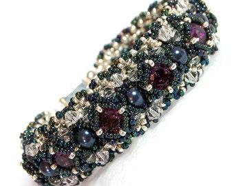 Swarovski Crystal Bracelet - Hand Beaded - Beadwork - Unique Jewellery - Beadwork Bracelet - Andromeda