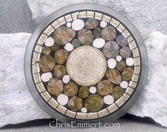 Mosaic Trivet, Candle Plate, Home Decor, Brown, Olive, Mixed Media Art,