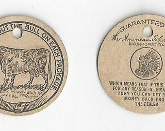 The American Tobacco Co. Vintage Tobacco Tag for Bull Durham, C1980s