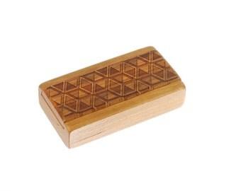 Sliding Lid Cherry Wood Box, Optical Illusion Art MS2, Solid Cherry Top/Solid Cherry Bottom, Paul Szewc