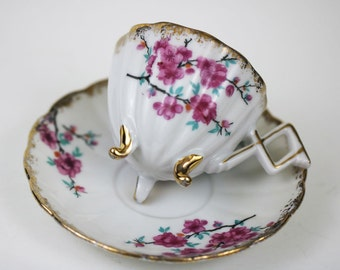 Vintage Trimont Tea Cup and Saucer - Vintage Japan Cherry Blossom Tea Cup and Saucer - Egg Cup Tea Cup