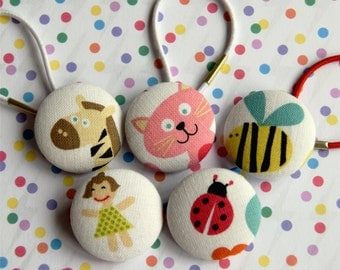 SALE! 5 x Kawaii Hair Bobbles Ties Fabric Covered Buttons cute