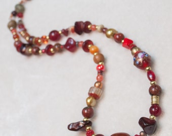 Red and Brass Beaded Necklace with assorted stones Czech glass with copper Lobster Clasp Closure - Fortuitous - Art Jewelry by Ardent