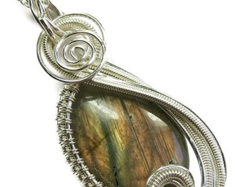 """Labradorite & Sterling Silver Wire-Wrapped """"Swish"""" Pendant on Chain (SWPSS18B)"""