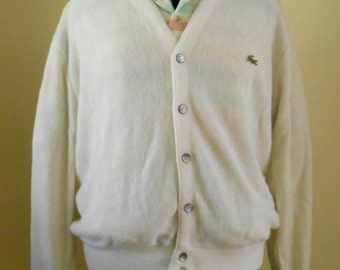 Vintage 1970s cream button-down, size Medium / Large