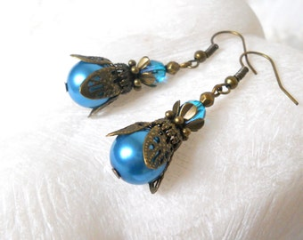 teal pearl dangle earrings victorian style pearl earrings brass teal flower earrings brass pearl earrings beaded earrings pearl