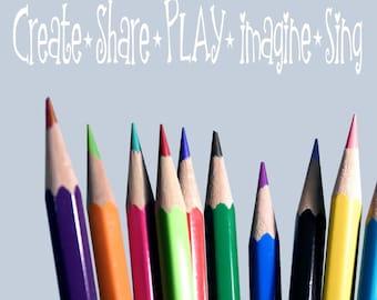 Create Share Play Imagine Sing- Vinyl Lettering wall decal kids children  art words art  nursery decals Boy Bedroom    itswritteninvinyl