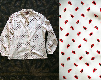 Vintage 1970's JC Penneys Anatomical Heart Print Blouse Retro Flouncy Ruffled Collar Women's Polyester Country Western Medium