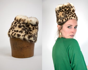 Vintage 1950's Leopard Print FUR Hat Pill Box Women's Retro High Fashion Fur Luxury Hollywood Regency Accessories Hat/Cap Vtg VG