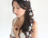 bridal crown, Back Cascade Wedding Flower Crown, White whimsical fairy wedding, bridal accessories, wedding hair - June -