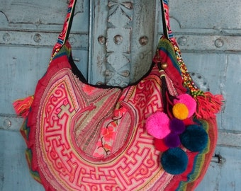 Hmong Fabric Tribal crossbody bag Vintage Hand embroidery Ethnic Fahsion Cute PomPom