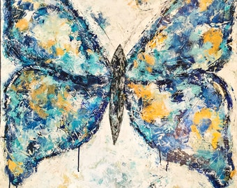"""Butterfly, Abstract, blue, gold, canvas, painting, art, 3/4"""" thick canvas print"""