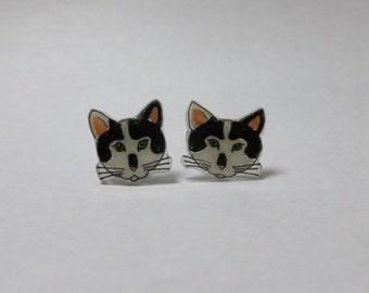 Black and White Cat Earrings Cat Ear Studs Pet Cat Animal Jewellery