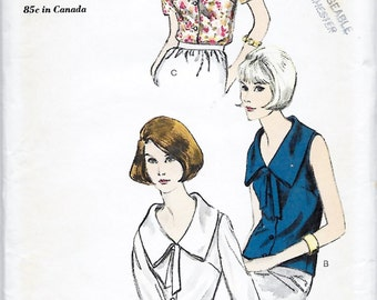 Vogue 6282 Women's 60s Blouse Sewing Pattern with Wide or Narrow Collars  Bust 34
