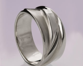 Waves No.4, Platinum Ring , Platinum band, Wedding Ring , Wedding Band , Mens Band, men's ring, platinum wedding band, platinum wedding ring