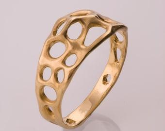 Bio E - 14k Gold Ring ,Wedding Ring , Wedding Band , Organic Ring, unique wedding ring, unique band, delicate wedding ring, filigree ring