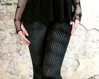 Gothic black velvet leggings devore stripes small to plus size