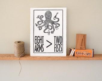 Handmade Wall Art Octopus Drinking Alcohol Linocut Print, Home decor, Bar art, art print, handmade, stock the bar, house warming, hostess