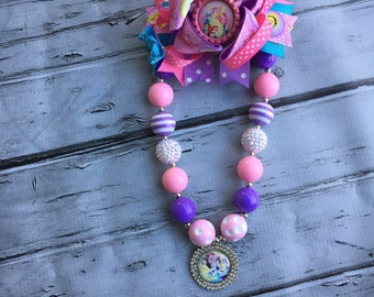 Disney Princesses Bubblegum Necklace, Princesses  Hair Bow, Girls Chunky Necklace and Hair Bow ,Bubblegum Chunky Necklace, Birthday Necklace
