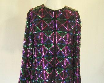 Cervelle Sequin Triangle Cardigan Jacket Top Glam
