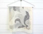 1950s Gray Fern Silk Scarf