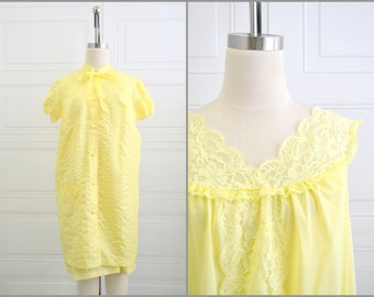 1960s Philmaid Yellow Robe and Gown Set