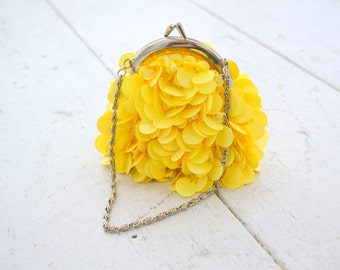 1960s Yellow Paillette Purse