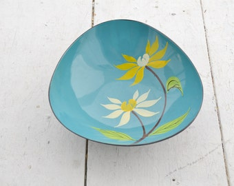 1960s Turquoise Painted Floral Bowl